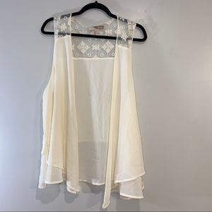 Sheer Vest with Lace Detail